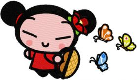 Pucca Fly as Butterfly machine embroidery design
