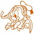 Donald with ribbon 3 embroidery design