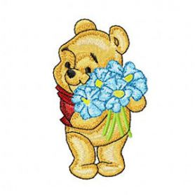 Baby Pooh with Flowers machine embroidery design