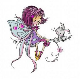 Young fairy machine embroidery design