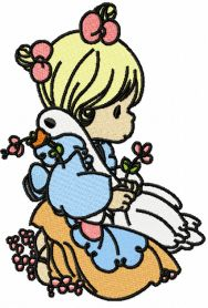 Girl with love duck machine embroidery design