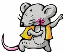 Tiny mouse with flower