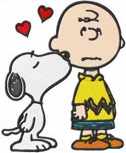 Snoopy kissing Charlie brown