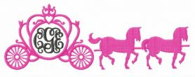 Carriage with horses machine embroidery design
