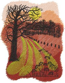 Autumn arable land embroidery design