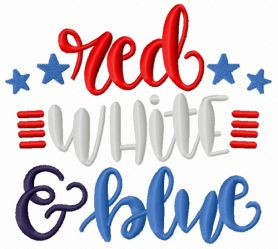 Red white blue machine embroidery design