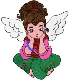 Young cute angel free embroidery design