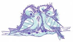 Ruffled sparrows on branch embroidery design