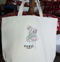 Embroidered cotton bag with france girls design