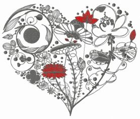 Floral heart 3 machine embroidery design