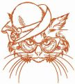 Aristocratic cat embroidery design
