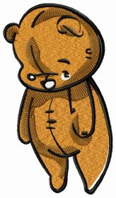 Old plush teddy bear machine embroidery design