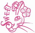 Sweet kitten embroidery design