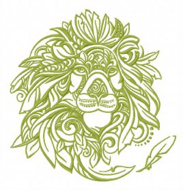 Feathered lion machine embroidery design