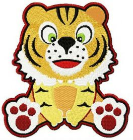 Tiger surprised machine embroidery design