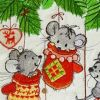 Embroidered towel with Christmas mice