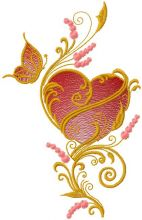 Gold heart and butterfly