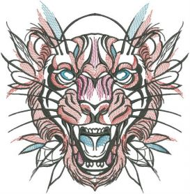 Tribal tiger 3 machine embroidery design