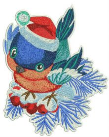 Curious bullfinch machine embroidery design