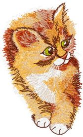 Kitten free machine embroidery design