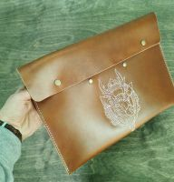 Leather folder with deer head embroidery design