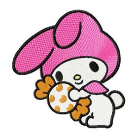 My Melody with Gift machine embroidery design