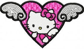 Hello Kitty Angel Wings machine embroidery design