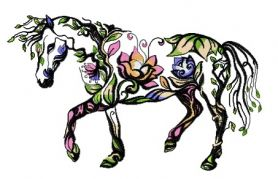 Floral horse machine embroidery design
