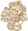 Teddy bear collecting flowers sketch embroidery design