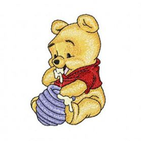 Baby Pooh with honey machine embroidery design
