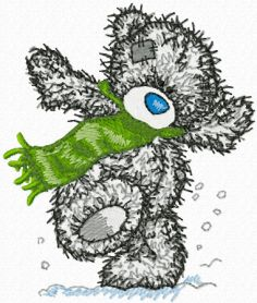 Teddy Bear winter dance machine embroidery design