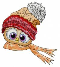 Bird in knitted hat and scarf