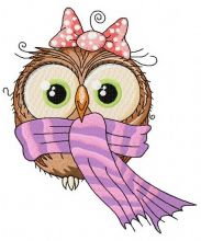 Owl in warm scarf