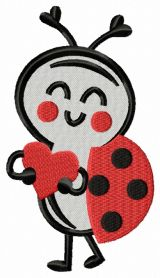 Ladybug with heart machine embroidery design
