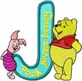 Winnie Pooh and Piglet Alphabet Letter J embroidery design