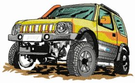 Jeep car machine embroidery design