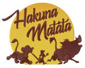 Hakuna Matata sunset machine embroidery design