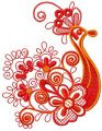 Red firebird  embroidery design