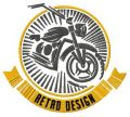 Bike retro design badge embroidery design