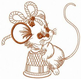 Thoughtful mouse machine embroidery design