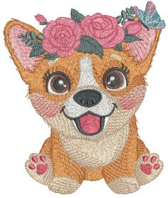 Corgi with flower wreath embroidery design