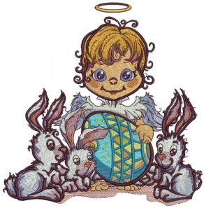 Angel and Easter bunnies