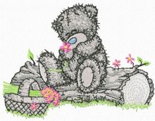 Teddy Bear with a basket of flowers