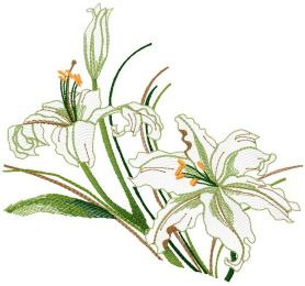Lily free machine embroidery design