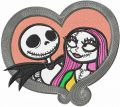 Jack and Sally love embroidery design