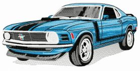 Mustang car 4 machine embroidery design