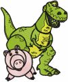 Dinosaur Rex and Pig embroidery design