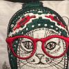 Cushion with cat winter hat embroidery design