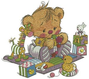 Baby teddy bear with toys