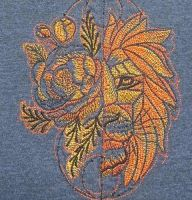 Fantastic lion embroidery design